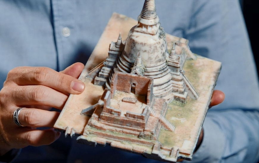 A 3D printed model of Ayutthaya temple in Thailand, produced using the Stratasys J750